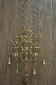 Handmade Heart Start Rusty Iron Metal Bells Windchime