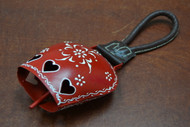 """Handmade Red Heart Rusty Iron Metal Bell With Rope Handler 5 1/4"""""""