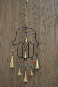 Handmade Metal Rusty Iron Bells With Glass Beads Windchime