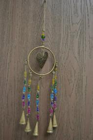 Handmade Metal Rusty Iron Heart Bells With Glass Beads Windchime