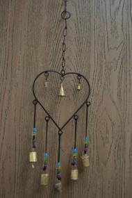 Handmade Heart Metal Rusty Iron Heart Bells With Glass Beads Windchime