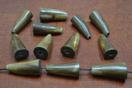 "12 Pcs Brown Buffalo Horn Pendant Charm 1 1/4"""
