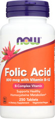 Folic Acid 800mcg + B-12 25mcg - Vegetarian 250 Tablets
