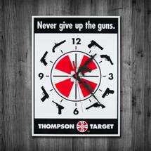 Thompson Target Wall Clock - Second Amendment  & Gun Rights Analog Clock - FREE SHIPPING!