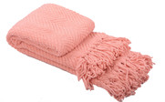 Peach Melba Knitted Tweed Throw Folded