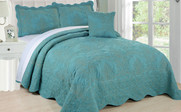 Teal Damask Embroidered Bedspread Collection