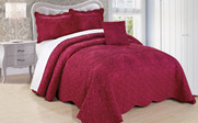 Sangria Damask Embroidered Bedspread Collection