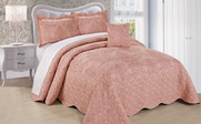 Dusty Pink Damask Embroidered Bedspread Collection