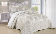 Antique White Damask Embroidered Bedspread Collection
