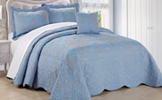 Forget Me Not Damask Embroidered Bedspread Collection