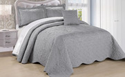Ash Gray Damask Embroidered Bedspread Collection