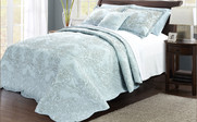 Blue Damask Embroidered Bedspread Collection