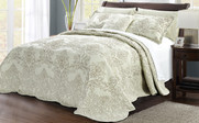 Light Green Damask Embroidered Bedspread Collection