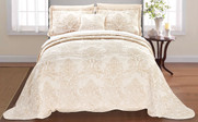Salmon Damask Embroidered Bedspread Front