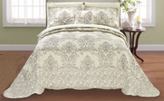 Taupe Damask Embroidered Bedspread Front