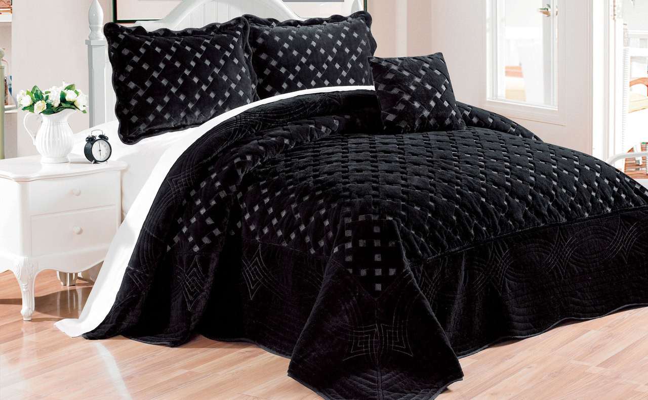 Tatami Quilted Faux Fur Bedding Bedspread Set