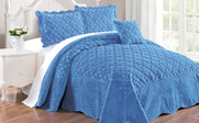Palace Blue Tatami Quilted Faux Fur Bed Spread Set