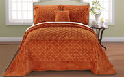 Burnt Orange Tatami Quilted Faux Fur Bedspread Front