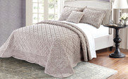 Taupe Tatami Quilted Faux Fur Bedspread