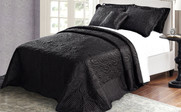 Black Quilted Satin Bed Spread