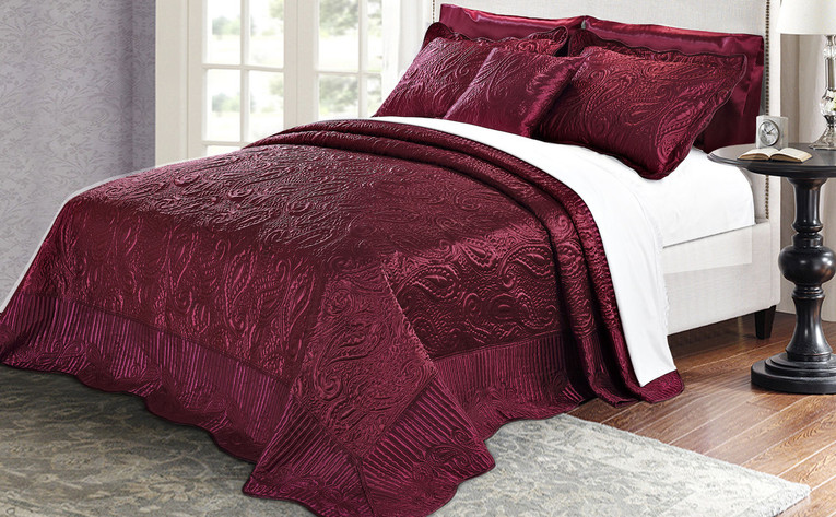 Burgundy Quilted Satin Bed Spread