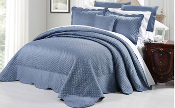 Blue Matte Satin Quilted Bedspread