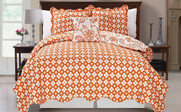 Orange Paisley Flower Reversible Quilted Bedspreads Reverse