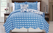 Blue Paisley Flower Reversible Quilted Bedspreads Reverse