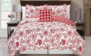 Red Paisley Flower Reversible Quilted Bedspreads