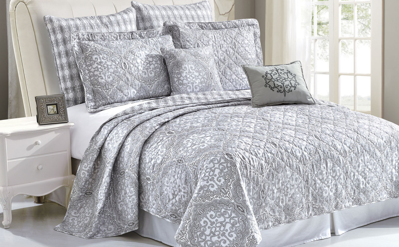 Melody Quilted 7 Piece Complete Modern Bed Spread Set