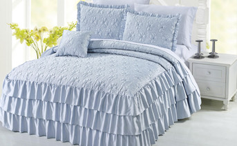 Blue Ruffle Matte Satin Bed Spread 4 Piece Set Collection