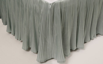 Silver Blue Pleated Bed Skirt