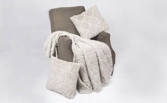Silver Geo Tatami Throw & Throw Pillow Cover 3 Piece Set
