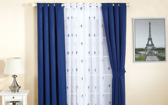 Dark Blue Fleur De Lis Wide Width Thermal Insulated Blackout Curtain