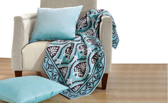 Neapoli Knitted Throw & Matching Pillow Shell Combo 3 Piece Set