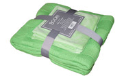 Green Flash Checker Cable Throw & Pillow Shell 3 Piece Combo Set Pack