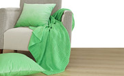 Green Flash Checker Cable Throw & Pillow Shell 3 Piece Combo Set
