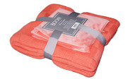Peach Eco Checker Cable Throw & Pillow Shell 3 Piece Combo Set Pack