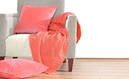 Peach Eco Checker Cable Throw & Pillow Shell 3 Piece Combo Set