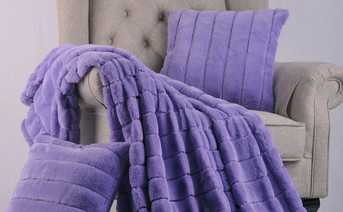 Paisley Purple Rabbit Faux Fur Throw & Pillow Combo Set