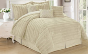 Oatmeal Rabbit Faux Fur 7 Piece Comforter Set