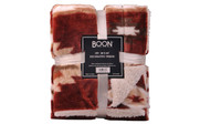 Brick Red Southwest Faux Fur and Sherpa Throw Blanket Retail Pack