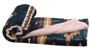 Deep Teal Southwest Faux Fur and Sherpa Throw Blanket Roll