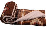 Coffee Southwest Faux Fur and Sherpa Throw Blanket Roll