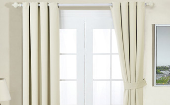 Beige Black Out Curtain 4 Piece Set