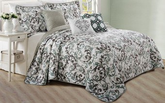 Ravello Scroll Printed Quilted 6 Piece Bed Spread Set