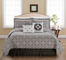 Coventry 6 Piece Quilted Printed Bed Spread Set, Light Purple / Lavendar