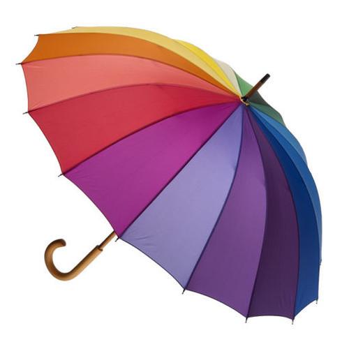 Rainbow Umbrella with Wooden Handle