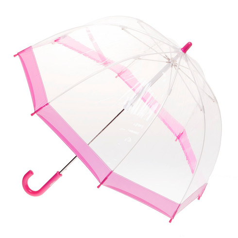 Child's Clear with Pink Trim Umbrella