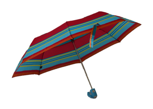 Compact Yellow Red Blue Stripes Umbrella Side